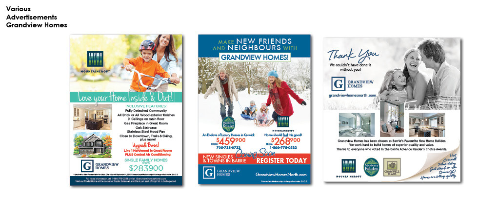 Grandview Homes - Various Advertisements